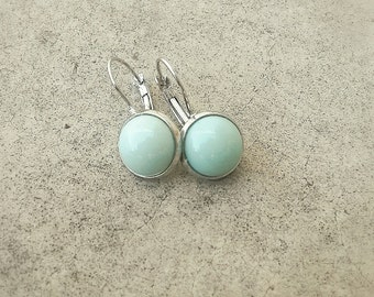 Mint drop earrings - Glass cabochon earrings - Dangle mint earrings - Mint jewelry