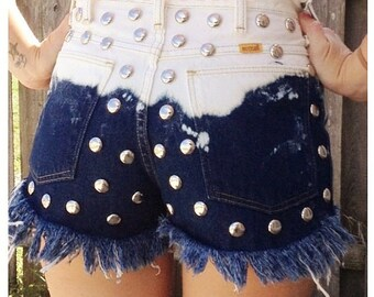 high waisted  ombre denim shorts
