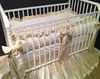Baby Bedding in Cream Silk and Linen