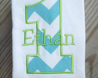 Personalized Birthday Shirt. 1st Birthday, 2nd Birthday, 3rd Birthday, 4th Birthday, 5th Birthday. Chevron