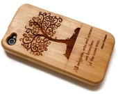 wooden Iphone 4 case / iphone 4S case - wood iphone 4 case bamboo, cherry and walnut wood - Tree - laser-engraved
