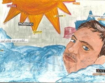 Mixed Media artist Original painting Man Lover Husband dreamy eyes  sweet heart art decor