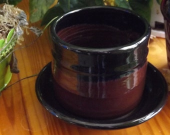 Maroon pottery flower pot