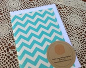 Fabric Covered Greeting Card - Blue Chevron