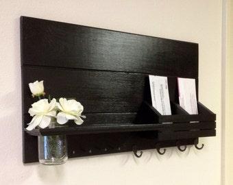 Shabby Chic Nautical Beach Cottage Flower Vase LARGE Multipurpose Key ring Mail holder Organizer Shelf Coat Towel Hanger Hooks in Black