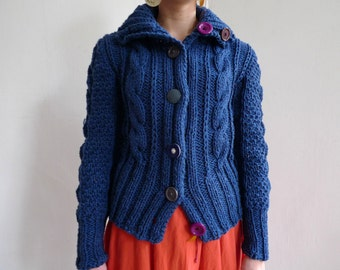 FREE SHIPPING! Handmade natural wool cardigan with buttons