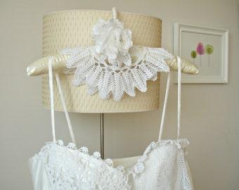 Wedding Dress Hanger  With Vintage Handcrocheted Doilies, Lace Flower , Bridal Hanger,  One Of A Kind Unique Item