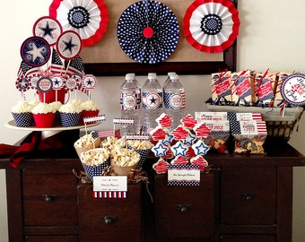 4th of July Party Decorations, PRINTABLE, Includes Cupcake Toppers, Bag Toppers, Tags and More