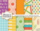 "Back to School -- Color Coordinated Digital Paper Pack -- 12"" x 12"""