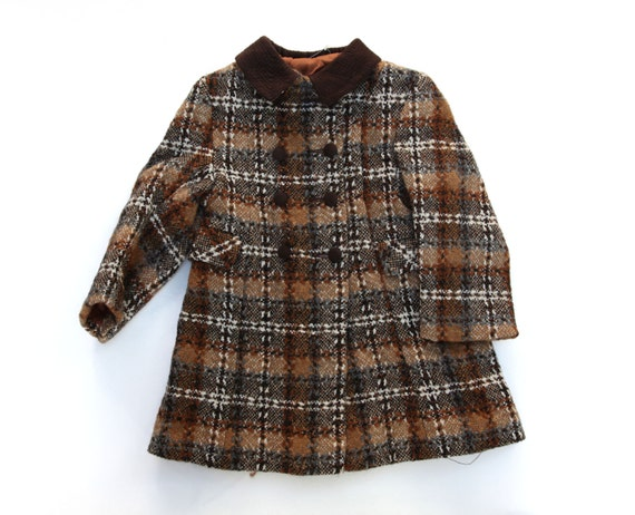 Great tailored winter coat brown check age 4 new from deadstock