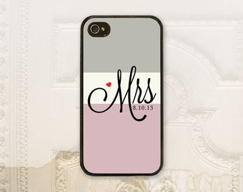 Custom Mrs phone case iPhone 4 4s 5 5s 5c 6 6+ plus Samsung Galaxy s3 s4 s5 s6 Bride Phone case Color block Personalized colors  B4090