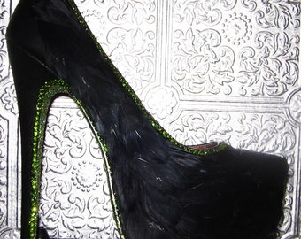 Black platform stilettos with black feathers, green crystal rhinestones and glittered soles