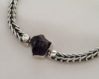 Raw Amethyst anklet, Christmas gift for her, Hand Made, Sterling silver jewelry