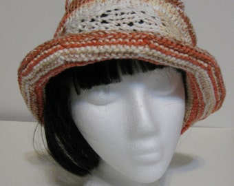 Rolled Brim Variegated Orange Hand Knit Hat