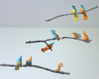 Bird Mobile - Blue / Orange / Yellow Fabric Birds - Made to order