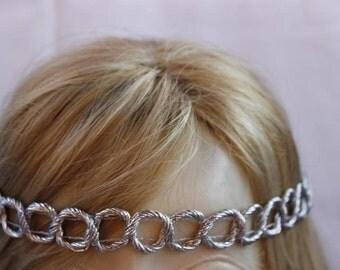 Braided Hippie Headband Boho Hairband Silver Braided Hippie Headband Hippie Chic Yoga Headband Hair Wrap