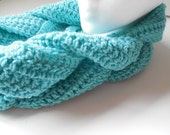 Infinity Braided Scarf - Aqua Blue - ShelleysCrochetOle