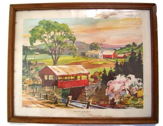 Vintage C Ivar Gilbert Print Framed Watercolor