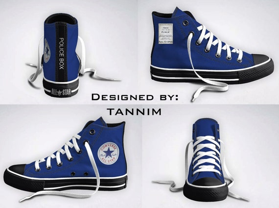 The ORIGINAL Custom Police Box Converse Chucks