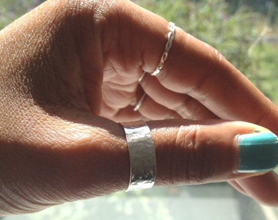 silver thumb ring hammered ring sterling silver uk shop