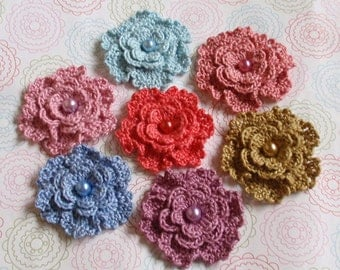 7 Crochet Flowers With Pearls  YH-151-04