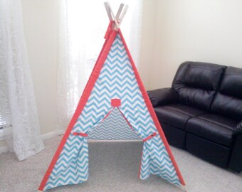 "Aqua Chevron Tent with Solid Sleeves 44"" Size or Pick your color Teepee play fort Made to Order Tents"