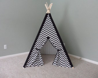 Black and White Teepee with matching accents tee pee black and white tent play fort Chevron