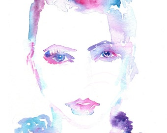 """On Sale """"Ramona"""" by Jessica Buhman, Print of Original Watercolor Painting, 8 x 10 Green Blue Purple Pink Floral"""
