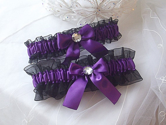 Wedding Garter Set Purple With Black Sheer Organza And