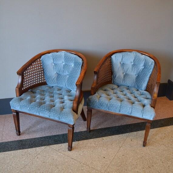 Reserved Mid Century Modern Lane Burl Wood Surfboard Coffee: Plush Vintage Tufted Velvet Chair Pair By TwoGuysVintage