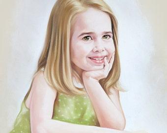 Pastel portrait of a young little lady