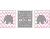 Elephant Nursery Art Print Set  - Chevron Pink Gray Decor - First We Had Each Other Quote - Modern Baby Girl Room - Wall Art Home Decor