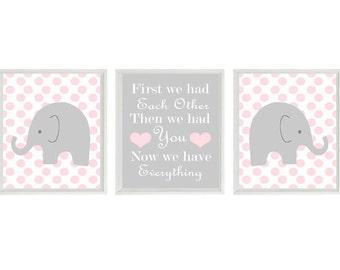 Elephant Nursery Art Print Set  - Polka Dot Pink Gray Decor - First We Had Each Other Quote - Modern Baby Girl Room - Wall Art Home Decor