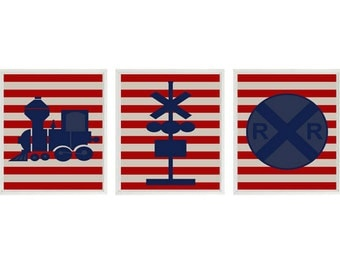 Train Art Print Set - Railroad Sign Boy Nursery Art Navy Blue Red Tan Stripes Transportation Boy Room Playroom Wall Art Home Decor