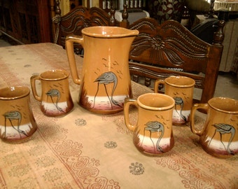Antique Mexican Pitcher and Cups