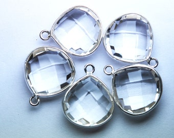 925 Sterling Silver Rock Crystal Quartz Faceted Heart Shape Pendant,5 Piece of 18mm