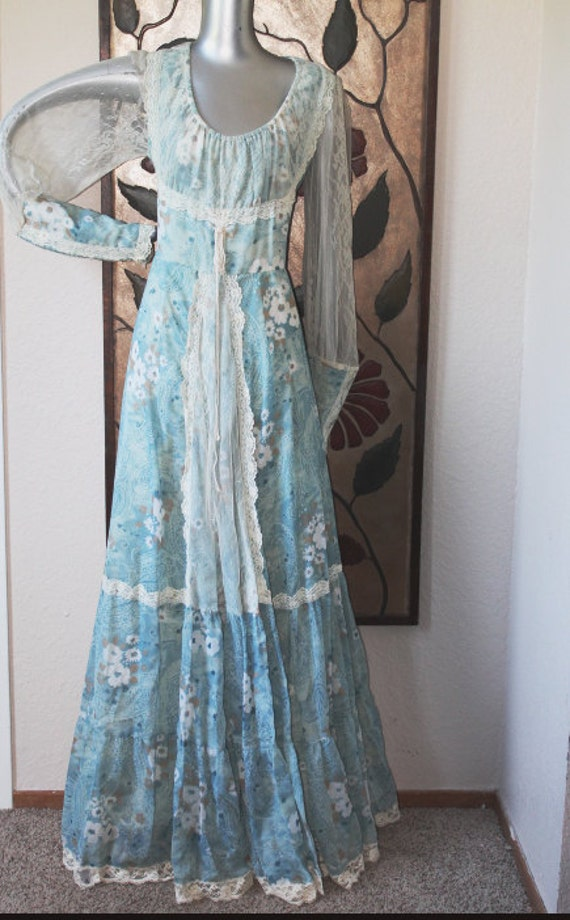 1970s gunne sax jessica mcclintock floral print country formal for Gunne sax wedding dresses