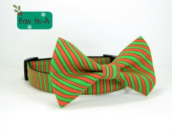 Christmas Elves Dog Collar-Green/Red Stripe Dog Collar with bow tie set  (Mini,X-Small,Small,Medium ,Large or X-Large Size)- Adjustable