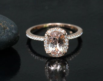 Morganite Engagement Ring in 14k Rose Gold with Peach Pink Morganite Cushion 8x6mm and Diamond Halo Ring