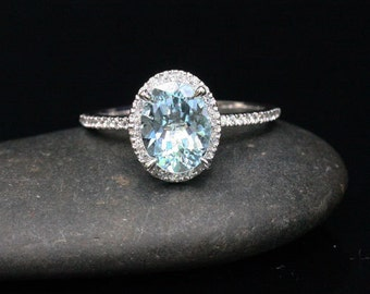 Oval Aquamarine Engagement Ring Aquamarine White Gold Ring with Oval 9x7mm and Diamond 14k White Gold Ring