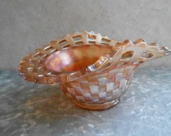 1940's Carnival Glass Iridescent Basket