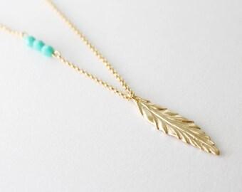 Leaf necklace // Long necklace