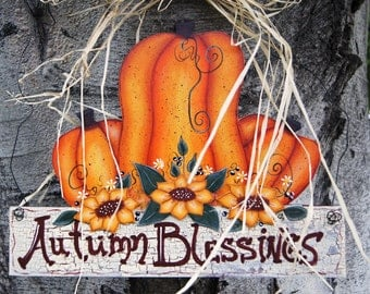 Fall or Thanksgiving Door or Wall Hanging - Fall Decoration Sign