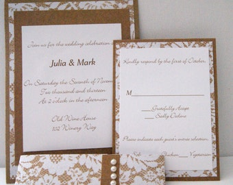 Lace and Pearls Wedding Invitation Suite