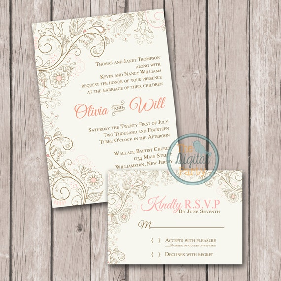 Print Your Own Wedding Invitation: Digital Wedding Invitation Print Your Own Wedding