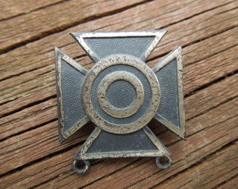Vintage Army Pin, Sterling Silver.  Sharpshooter.  Cross with Circles.  US Army