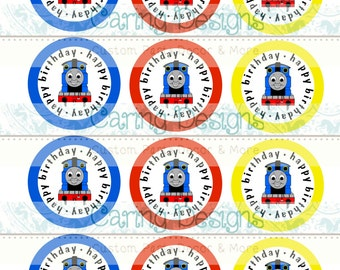 INSTANT DOWNLOAD - Printable Thomas the Train Cupcake Toppers, DIY Digital File