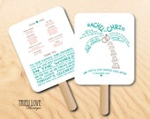 Personalized Palm Tree | Seaside | Tropical | Beach | Destination Wedding Ceremony Program Fan - Digital File