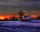 Snowy Sunset -- Winter Landscape Painting - Original Fine Art  by Arena Shawn - 8x10 Landscape Painting in Watercolor