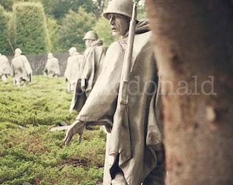 Tread Carefully - Photograpy Print - Korean War, Memorial, Monument, Washington, D.C., Green, military, soldiers, history, capital, decor